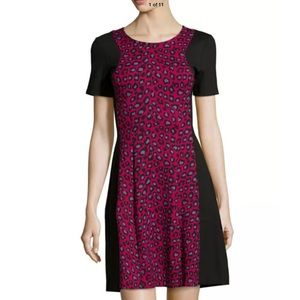 NWT CATHERINE MALANDRINO PINK LEOPARD DRESS